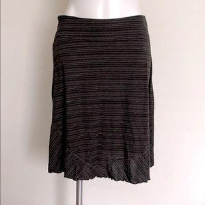 Ex Officio Black Gray Heather Stripe Ruffle Skirt